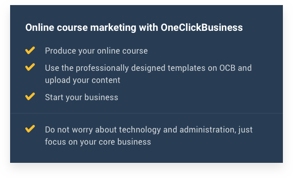 Online course marketing with OneClickBusiness