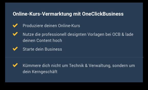 Online-Kurs-Vermarktung mit OneClickBusiness